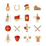 Gladiator Icons Set. Gladiator and greek antiquity warriors icons set isolated vector illustration royalty free illustration