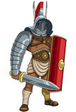 Gladiator. Illustration of Roman gladiator in full battle gear stock illustration