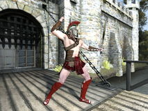 Gladiator. Image of a gladiator and fort Stock Photo