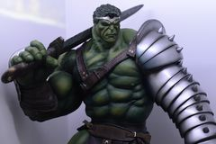Gladiator king Hulk, Bruce Banner, strongest of the Avengers, Marvel comics heroe. The mighty Hulk in his gladiator uniform with sword and shield ready to stock photos