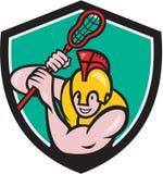 Gladiator Lacrosse Player Stick Crest Cartoon Stock Photos