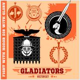 Gladiator Logos Templates Design. Set of Vector Emblems stock illustration