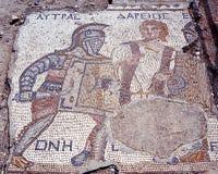 Gladiator Lytras Mosaik, Kourion, Zypern. Stockfotografie