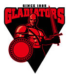 Gladiator mascot. Vector of gladiator mascot hold a sword and shield vector illustration