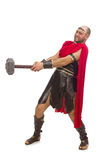 Gladiator med hammaren som isoleras på vit Royaltyfri Bild