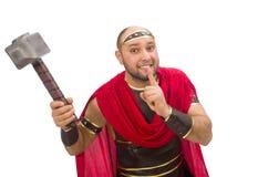 Gladiator met hamer op wit wordt geïsoleerd dat Stock Foto