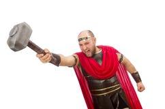 Gladiator mit dem Hammer lokalisiert auf Weiß Lizenzfreies Stockbild
