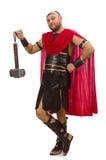 Gladiator mit dem Hammer lokalisiert auf Weiß Lizenzfreies Stockfoto