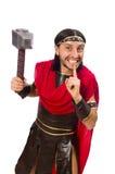 Gladiator mit dem Hammer lokalisiert auf Weiß Lizenzfreie Stockfotografie