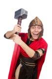 Gladiator mit Hammer auf Weiß Stockfoto