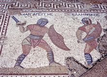 Gladiator mosaic, Kourion, Cyprus. Mosaic of Gladiators in the house of the Gladiators, Kourion (Near Limassol), Cyprus Royalty Free Stock Photos