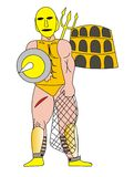 Gladiator. My illustration of a gladiator and a Colosseum Royalty Free Stock Photos