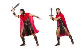 The gladiator posing with sword isolated on white Royalty Free Stock Photo