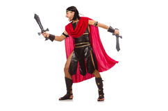 Gladiator posing with sword on white Royalty Free Stock Images