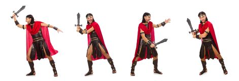Gladiator pozuje z kordzikiem odizolowywającym na bielu Zdjęcia Stock