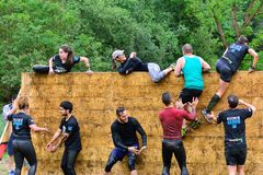 Gladiator Race - extreme obstacle race in La Fresneda, Spain. Stock Image