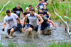 Gladiator Race - extreme obstacle race in La Fresneda, Spain. Royalty Free Stock Images