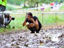 Gladiator Race - extreme obstacle race in La Fresneda, Spain. Royalty Free Stock Image