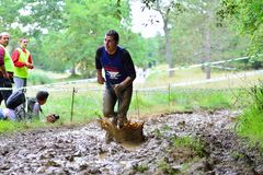 Gladiator Race - extreme obstacle race in La Fresneda, Spain. Royalty Free Stock Photos