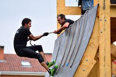 Gladiator Race - extreme obstacle race in La Fresneda, Spain. Stock Photography