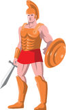 Gladiator roman centurion warrior standing. Vector illustration of a gladiator roman centurion warrior standing facing front with sword and shield done in retro royalty free illustration