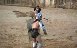 Gladiator rzuca sieć Obrazy Royalty Free