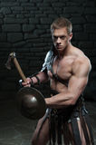 Gladiator with shield and axe Royalty Free Stock Photo