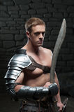Gladiator with shield and sword Royalty Free Stock Images