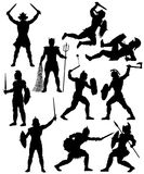 Gladiator silhouettes set. Set of editable vector silhouettes of fighting gladiators with figures and weapons as separate objects Stock Photo
