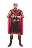 Gladiator with sword isolated on white Stock Photo