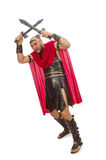 Gladiator with sword isolated on white Royalty Free Stock Image