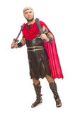Gladiator with sword isolated on white Stock Photos