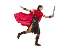 Gladiator with sword isolated on white Stock Photography