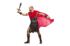 Gladiator with sword isolated on white Royalty Free Stock Photos