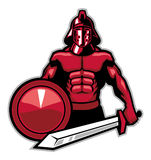 Gladiator. Vector of big gladiator posing with shield and sword vector illustration