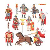 Gladiator vector roman warrior man character in armor with sword or weapon and shield in ancient Rome illustration. Historic set of greek people warrio fighting vector illustration