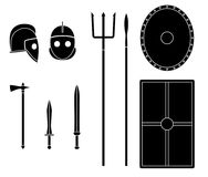 Gladiator weapons and armors set. Ancient warrior equipment. Gladius, dagger, trident, spear, helmet shield Vector illustration stock illustration
