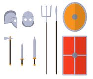 Gladiator weapons and armors set. Ancient warrior equipment. Gladius, dagger, trident, spear, helmet shield Vector illustration royalty free illustration