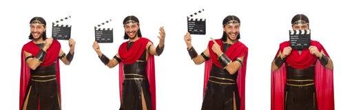 Gladiator z deską odizolowywającą na bielu obrazy royalty free