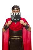 Gladiator z deską odizolowywającą na bielu zdjęcia stock