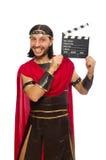 Gladiator z deską odizolowywającą na bielu zdjęcia royalty free