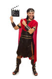 Gladiator z deską odizolowywającą na bielu Fotografia Royalty Free