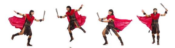 Gladiator z kordzikiem odizolowywającym na bielu Fotografia Stock
