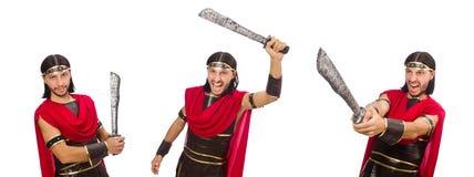 Gladiator z kordzikiem odizolowywającym na bielu Fotografia Royalty Free