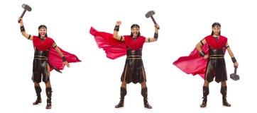 Gladiator z młotem odizolowywającym na bielu Fotografia Stock