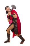 Gladiator z młotem odizolowywającym na bielu Zdjęcia Royalty Free