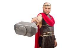 Gladiatore con il martello isolato su bianco Immagine Stock Libera da Diritti