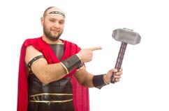 Gladiatore con il martello isolato su bianco Fotografie Stock Libere da Diritti