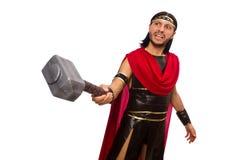 Gladiatore con il martello isolato su bianco Fotografia Stock