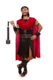 Gladiatore con il martello isolato su bianco Fotografie Stock